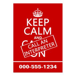 Guarde la calma y llame a un intérprete (en cualqu tarjetas de visita grandes