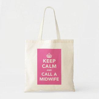 Guarde la calma y llame a una partera bolsa lienzo