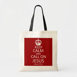 Guarde la calma y llame en Jesús - bolso de mano Bolsas