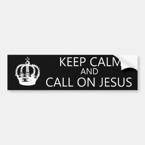 Guarde la calma y llame en Jesús - pegatina para e Etiqueta De Parachoque