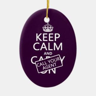 Guarde la calma y llame su agente (cualquier adorno navideño ovalado de cerámica