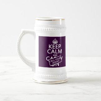 Guarde la calma y llame su agente (cualquier color tazas de café
