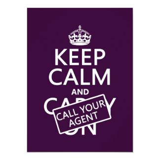 """Guarde la calma y llame su agente (cualquier invitación 5.5"""" x 7.5"""""""