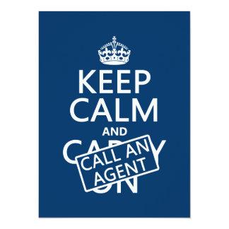 """Guarde la calma y llame un agente invitación 5.5"""" x 7.5"""""""