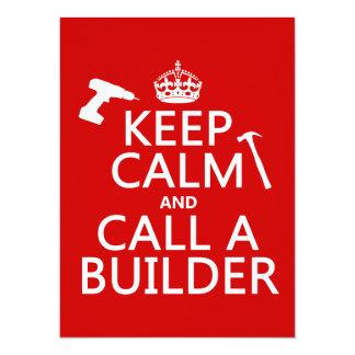 """Guarde la calma y llame un constructor (cualquier invitación 5.5"""" x 7.5"""""""