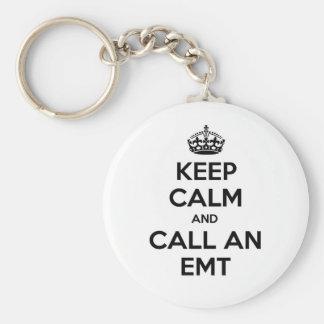 Guarde la calma y llame un EMT Llavero Personalizado
