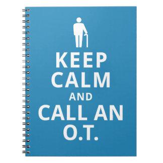 Guarde la calma y llame un O.T. - Terapeuta Note Book
