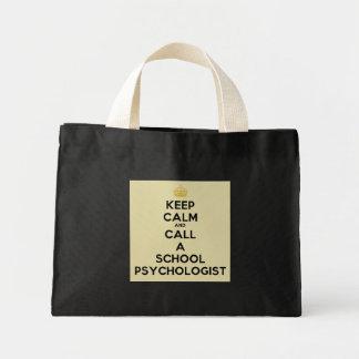 Guarde la calma y llame un tote del psicólogo de l bolsa tela pequeña