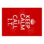 Guarde la calma y llámela (cualquier color) plantillas de tarjetas personales