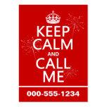 Guarde la calma y llámeme (cualquier color de fond plantillas de tarjetas de visita