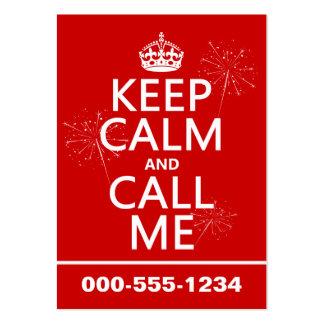 Guarde la calma y llámeme (cualquier color de fond tarjetas de visita grandes