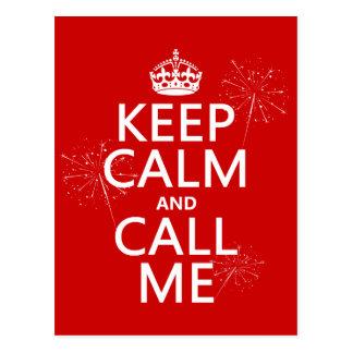 Guarde la calma y llámeme (cualquier color de postales