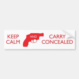 Guarde la calma y lleve el rojo blanco encubierto etiqueta de parachoque