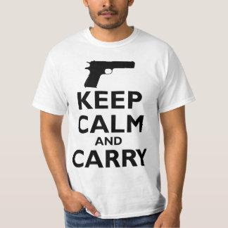 Guarde la calma y lleve - la 2da enmienda camisas