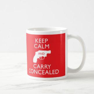 Guarde la calma y lleve la taza roja encubierta