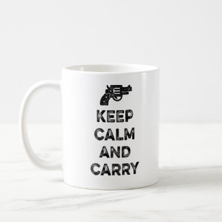 Guarde la calma y lleve taza de café