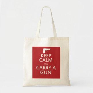 Guarde la calma y lleve un arma bolsa tela barata