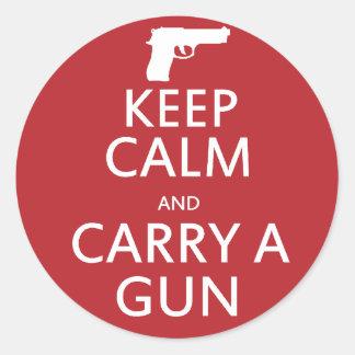 Guarde la calma y lleve un arma pegatinas