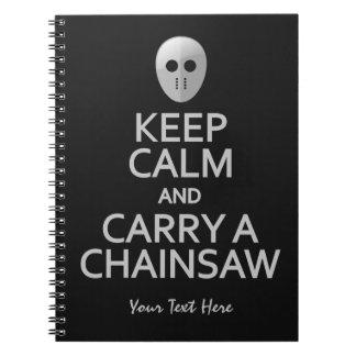 Guarde la calma y lleve un cuaderno del personaliz