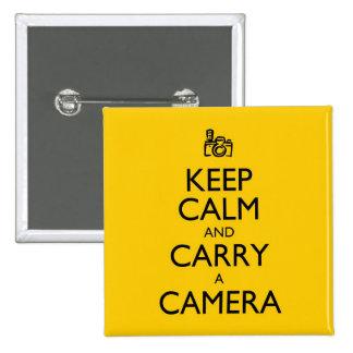 Guarde la calma y lleve una cámara pin cuadrada 5 cm