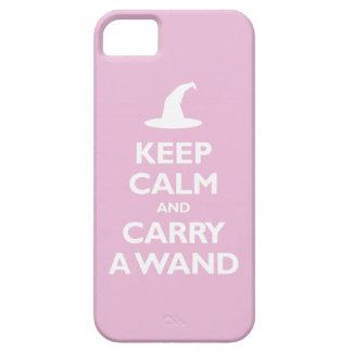 Guarde la calma y lleve una vara (rosa clara) iPhone 5 fundas