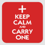Guarde la calma y lleve uno pegatina cuadradas personalizadas