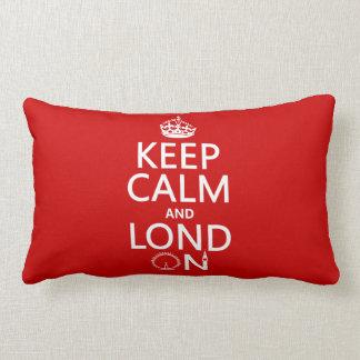 Guarde la calma y Londres (Lond encendido) (cualqu Cojin