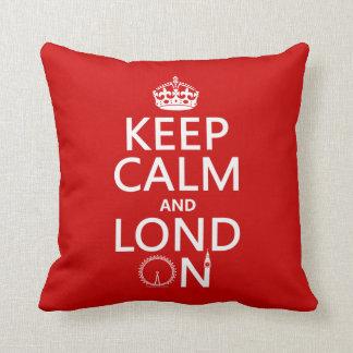 Guarde la calma y Londres (Lond encendido) (cualqu Almohadas