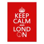 Guarde la calma y Londres (Lond encendido) Invitación 13,9 X 19,0 Cm