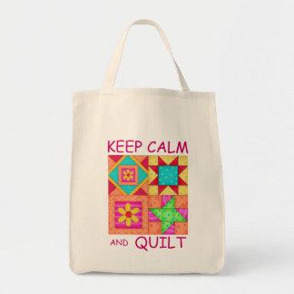 Guarde la calma y los bloques coloridos del bolsa de mano