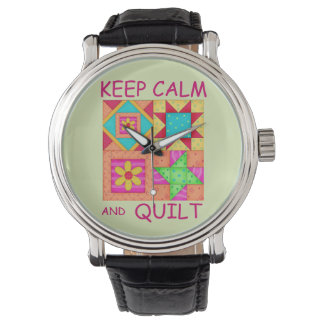 Guarde la calma y los bloques coloridos del reloj de mano