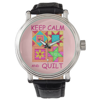 Guarde la calma y los bloques coloridos del relojes de pulsera