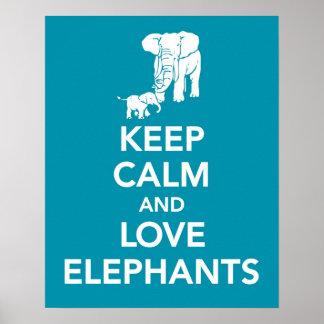 Guarde la calma y los elefantes del amor imprimen  impresiones