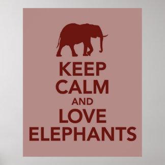Guarde la calma y los elefantes del amor imprimen  posters