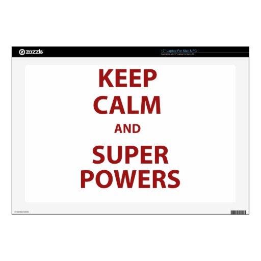 Guarde la calma y los superpoderes calcomanías para portátiles