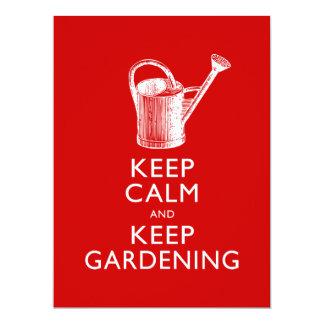 """Guarde la calma y mantenga al jardinero que invitación 6.5"""" x 8.75"""""""