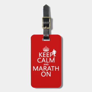 Guarde la calma y Marath encendido Etiquetas De Equipaje