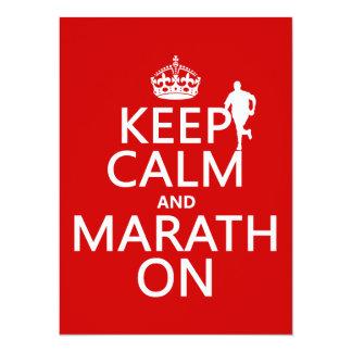 """Guarde la calma y Marath encendido Invitación 5.5"""" X 7.5"""""""