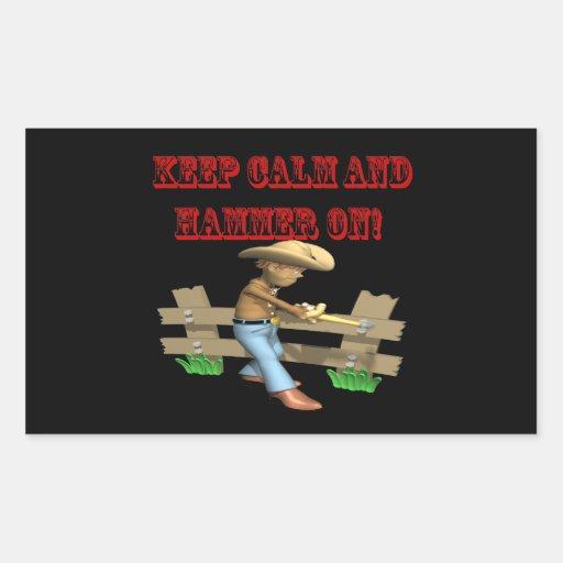 Guarde la calma y martille encendido pegatina rectangular