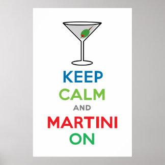 Guarde la calma y Martini encendido Póster