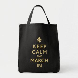 Guarde la calma y marzo adentro bolsa tela para la compra