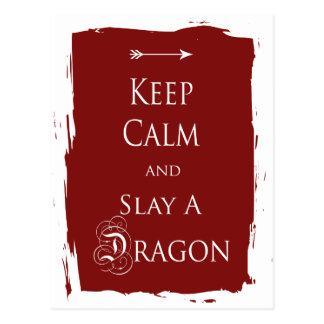 Guarde la calma y mate un dragón postales