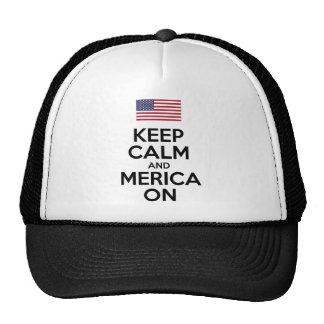 Guarde la calma y Merica encendido Gorras