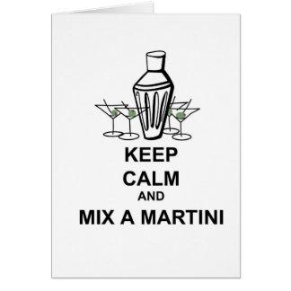 Guarde la calma y mezcle un Martini - tarjeta
