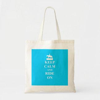 Guarde la calma y monte en (azul claro) bolsa tela barata