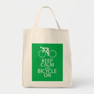 Guarde la calma y monte en bicicleta en el regalo  bolsa tela para la compra