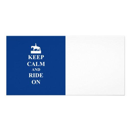 Guarde la calma y monte en (el azul) tarjeta personal con foto