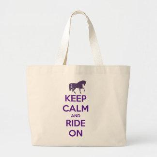 Guarde la calma y monte en equitación ecuestre bolsa tela grande