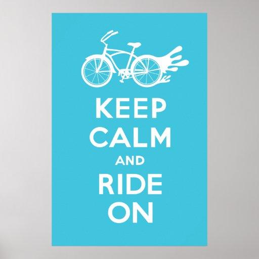 Guarde la calma y monte encendido - el azul sólido