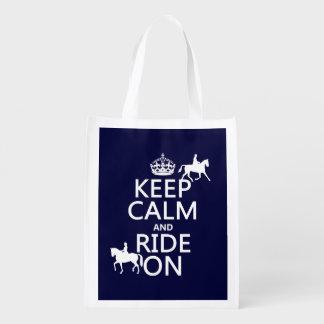 Guarde la calma y monte encendido - los caballos, bolsa para la compra